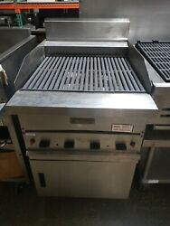 Garland G24-brl Natural Gas 24 Ceramic Briquette Charbroiler And Stand - Used