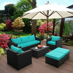 Set 6 Pieces Outdoor Pe Rattan Conversation Couch Sectional Chair Sofa Set