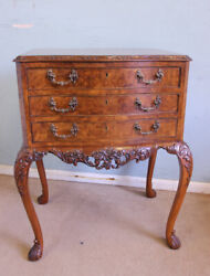 Antique Burr Walnut Queen Anne Style Haped Side Table