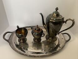 Rogers And Bro Silver Plated Tea / Coffee Set Plate Pot Creamer And Sugar Bowl