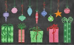 Needlepoint Handpainted Christmas Cbk Packages And Ornaments 12x7