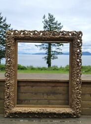 41x3719th C. Large Antique Gold Gesso Picture Frame