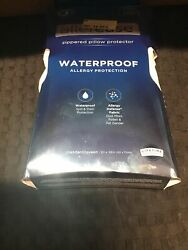 Allerease 2 Pack Waterproof Allergy Protection Zippered Pillow Protectors
