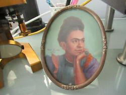 Frida Kahlo Style Mini Painting Without Provenance Or Authentication As Pictured