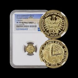 2016 Germany Gold - Ngc Pf70 Uc - Top Pop 🥇 Blue Planet Earth - Gold Medal