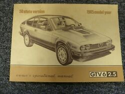 1985 Alfa Romeo Gtv6 Coupe Owner Owner's Manual User Guide 50 State Version