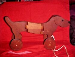 Vintage Wood Pull Toy Dachshund Dog Hinged Body Long Very Cool