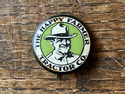 """7/8"""" Happy Farmer Tractor Co Advertising Celluloid Pinback Implement Plow"""