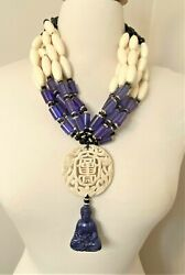 Cream And Purple Color Acrylic Beads With Jade Buddha Asian Motive Necklace