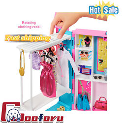 🌟Barbie Dream🌟Closet with 30 Pieces Toy Closet Features 10 Storage Areas
