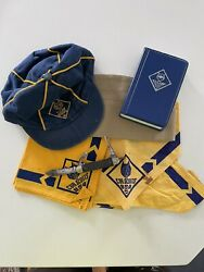 Vintage Bsa Cub Scout With Official Knife, Hat, Bank No Key And Scarf.