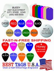 25 Custom Engraved Pet Id Dog Cat Tags Animal Rescue 34.95 Shipped Made In Usa