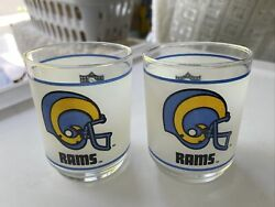 La Rams Vintage 1980's Mobil Promotional Frosted Rocks Glass Collectible Nfl 4t