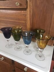 Set/6 New Artland Hand Blown Bubble Glass Wine/water Goblets