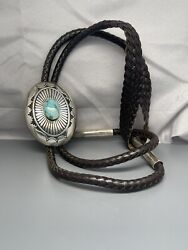 """Native American Sterling Turquoise Bolo Ties Charlie John W128g 48"""" Lenght Court"""