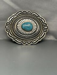 Native American Thomas Jim Sterling Silver Buckle Belt Turquoise Ston Wight 77g