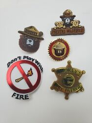 Vintage Smokey Bear Don't Play With Fire 🔥 Patrol Pin Tie Tac Lapel Lot Of 5