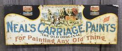 Amazing Antique 1910s20s Embossed Neal's Carriage Paints Advertising Tin Sign