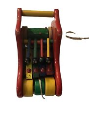 Rare Vintage 80and039s Kouvalias Shoe Pull Along Musical Wooden Toy Greek Greece New