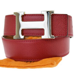 Auth Hermes Constance H Reversible Buckle Belt Leather Red Bn France 31jc499