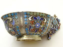 Imperial Russian 84 Silver Enamelled Kovsh By Andrei Andreev Aleksandrov