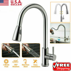 Kitchen Faucet Brushed Nickel Sink Mixer Tap Single Handle Pull Down Out Sprayer