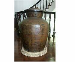 Vintage Nepalese Handmade Rice Storage Copper Container Pot Collective Pot