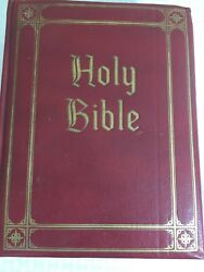 King James Bible Vintage 1960 Family Edition Faux Red Leather Illustrated