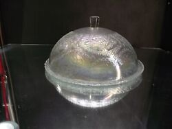 Vintage Iridescent Glass Cake Plate With Glass Dome Cloche
