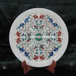 White 12 Round Marble Wall Plate Marquetry Lapis Lazuli Floral Inlay Home Decor
