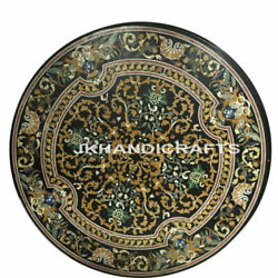 Black Marble Table Top Mother Of Pearl Inlay Work Hallway Decor Gifts 42