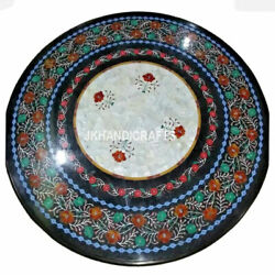 Round Black Marble Glorious Table Top Gemstone Inlaid Work Hallway Decor Gifts