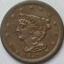 1851 Braided Hair Half Cent - Choice About Uncirculated