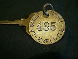 Vintage Advertising La Salle Hotel Chicago Key And Brass Employee Fob Tag