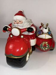 Fitz And Floyd Santa Motorcycle W/ Side Car Cookie Jar Limited 2nd Edition 1986