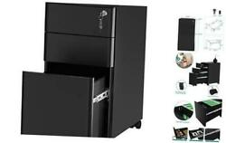 3-drawer Metal Filing Cabinet Office Drawers With Keys Compact Slim Black