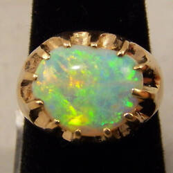 Australian Free Form Opal Ring 14k Yellow Crystal Opal Approx. Weight 3.5 Carats
