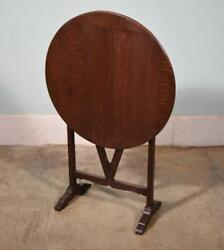 Antique Petite French Wine Tasting Table/side Table With Tilt Top In Solid Oak