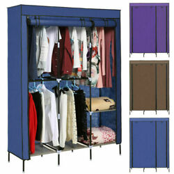 New 2 PCS Portable Clothes Closet Wardrobe Double Rod Closet Storage Organizer*
