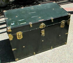 Antique Multnomah Trunk Large Metal And Wood Steamer Chest Green With Brass