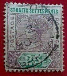 Straits Settlements 1892 -1899 Queen Victoria 25 C. Rare And Collectible Stamp.