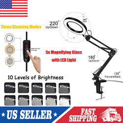 Usa Magnifier Led Lamp 5x Magnifying Glass Desk Table Reading Light With Clamps