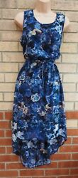FLORENCE AND FRED BLUE BLACK FLORAL SLEEVELESS A LINE BELTED TEA DRESS 14 L GBP 19.99