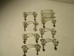 10 Glass Clear Drawer Pulls Cabinet Knob Handles Vintage 4and039and039 Long