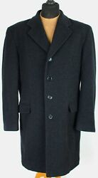 Crombie Coat Overcoat Grey Wool And Cashmere 42r Exceptional Garment 3968