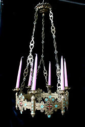 Antique French Bronze Religious Church Enamel Chandelier Candle Holders Lamp