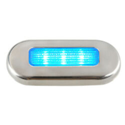 Aqua Signal Cordoba Led Oblong Oval Courtesy Light - 12v - Blue W/stainless S...