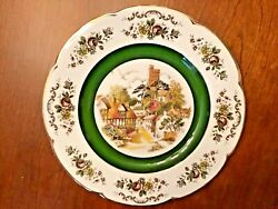 Wood And Sons Ascot England Alpine White Plate Castle Thatched Village Cottages