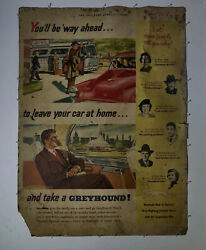 Greyhound Bus Line Promotional Poster Advertisement