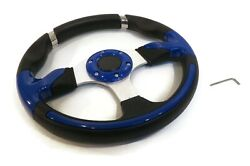 Universal 13 Steering Wheel Blue And Chrome, Formula Gt For Golf Carts And Go-karts